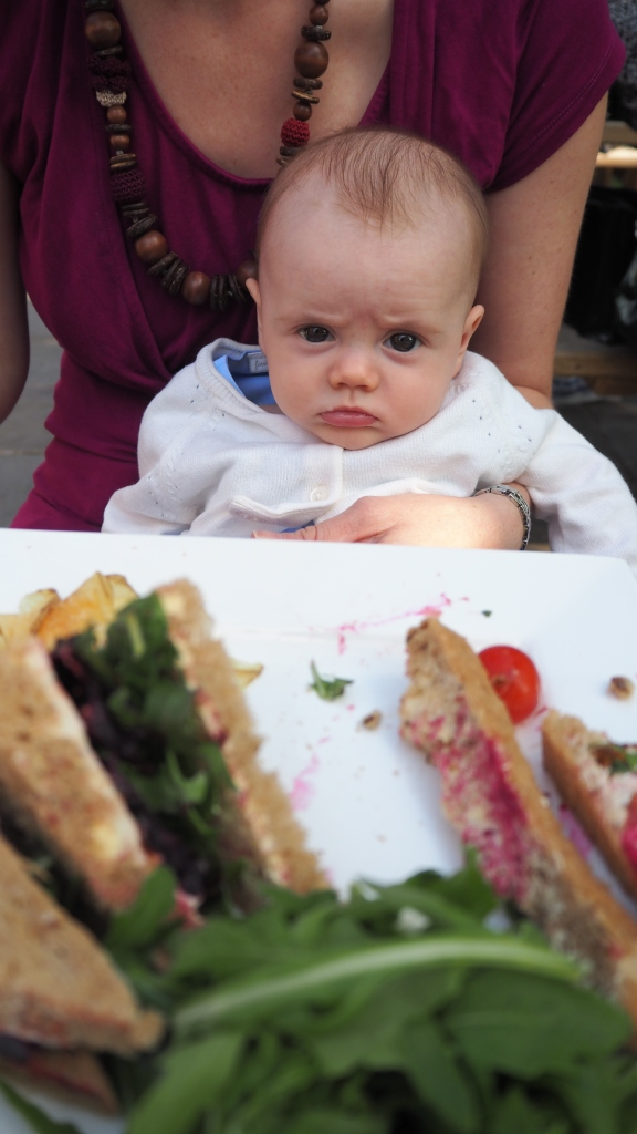Popple angry with a sandwich