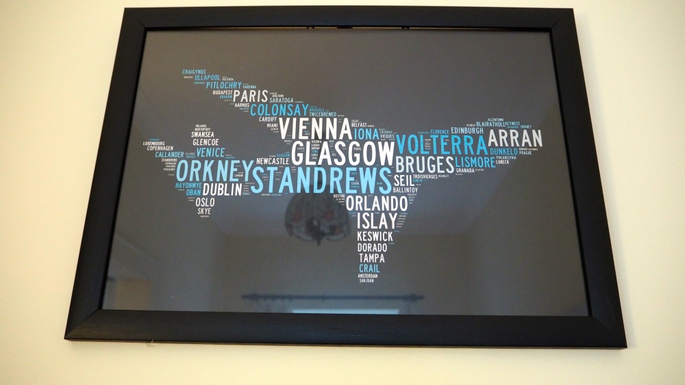 Word collage of places I've travelled